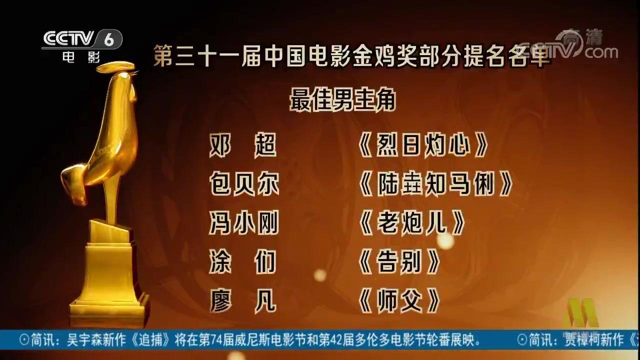 第31届中国电影金鸡奖公布奖项提名名单